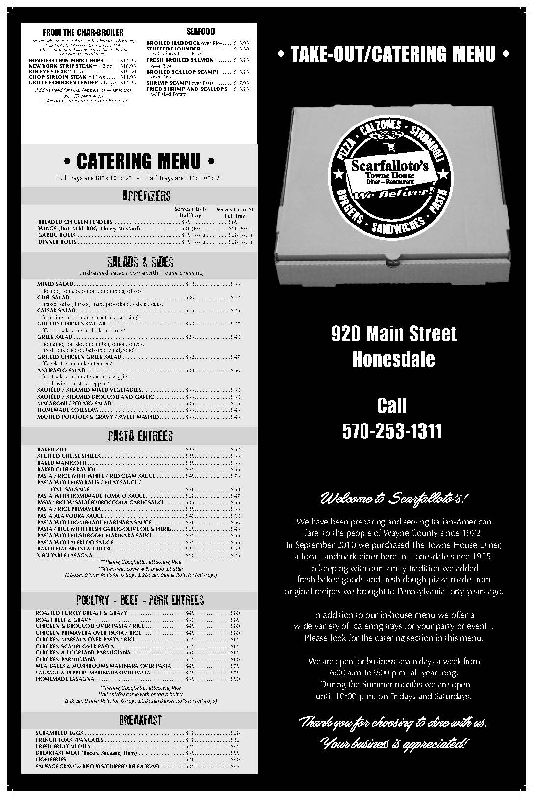 Menu :: Scarfallotos Townhouse Diner